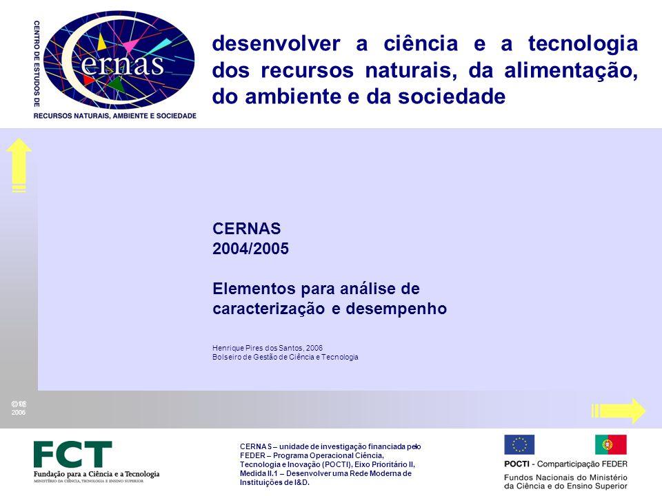 CERNAS 2004/2005 Elementos para análise de caracterização e desempenho Henrique Pires dos Santos, 2006 Bolseiro de Gestão de Ciência e Tecnologia CERNAS – unidade de investigação financiada pelo FEDER – Programa Operacional Ciência, Tecnologia e Inovação (POCTI), Eixo Prioritário II, Medida II.1 – Desenvolver uma Rede Moderna de Instituições de I&D.