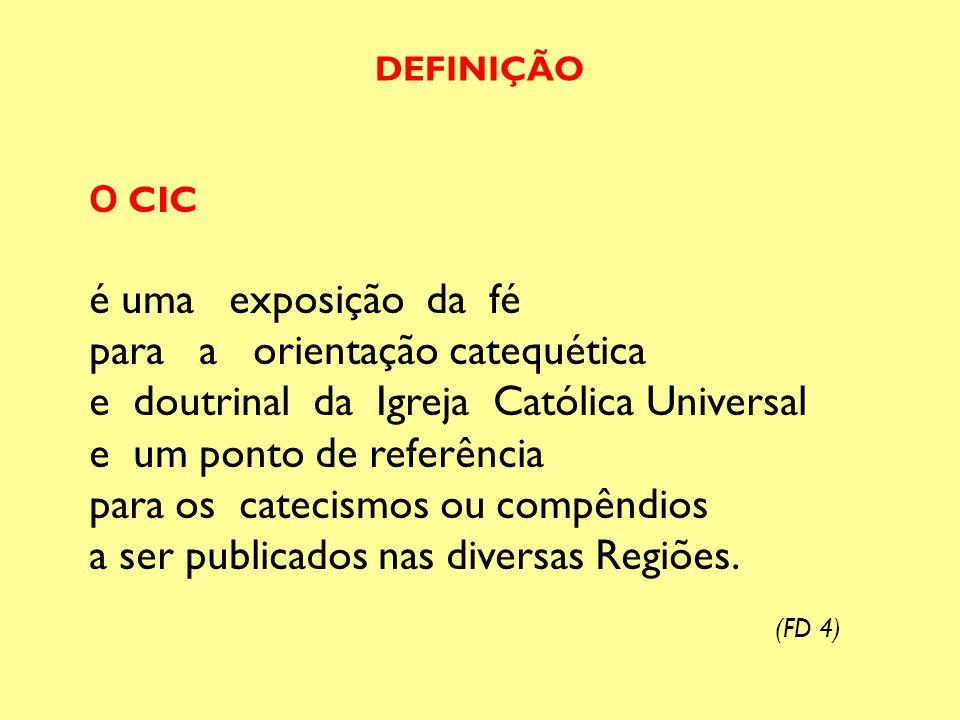 O CIC é uma exposição da fé para a orientação catequética e doutrinal da Igreja Católica Universal e um ponto de referência para os catecismos ou comp