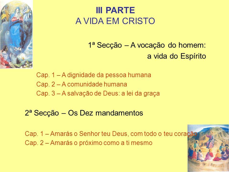 III PARTE A VIDA EM CRISTO 1ª Secção – A vocação do homem: a vida do Espírito Cap. 1 – A dignidade da pessoa humana Cap. 2 – A comunidade humana Cap.