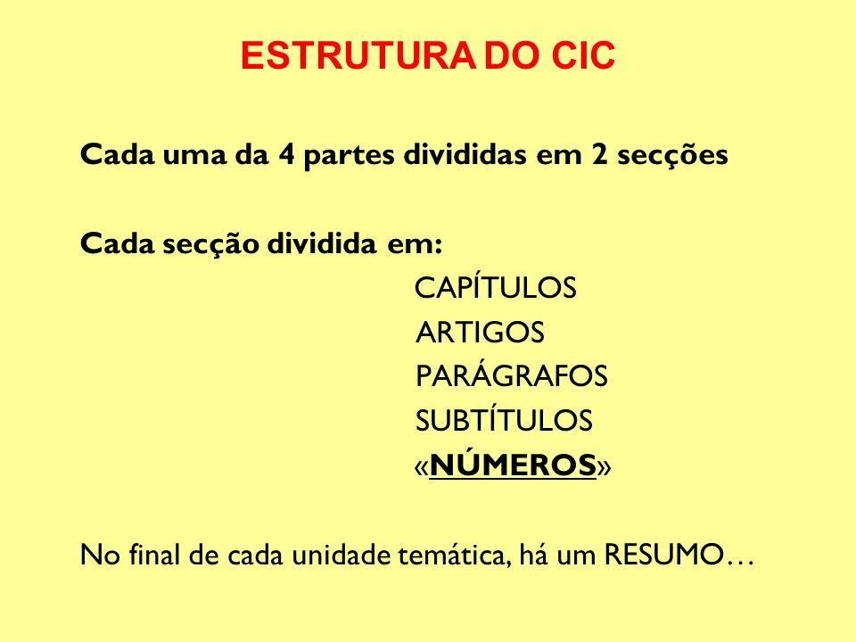 Cada uma da 4 partes divididas em 2 secções Cada secção dividida em: CAPÍTULOS ARTIGOS PARÁGRAFOS SUBTÍTULOS «NÚMEROS» No final de cada unidade temáti