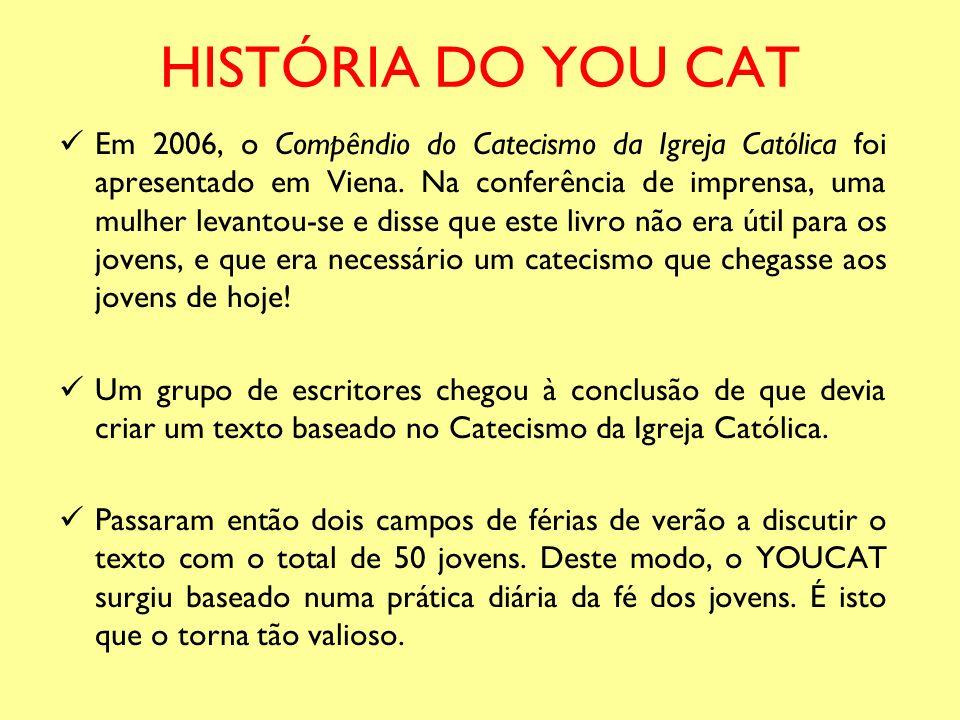 HISTÓRIA DO YOU CAT Em 2006, o Compêndio do Catecismo da Igreja Católica foi apresentado em Viena. Na conferência de imprensa, uma mulher levantou-se