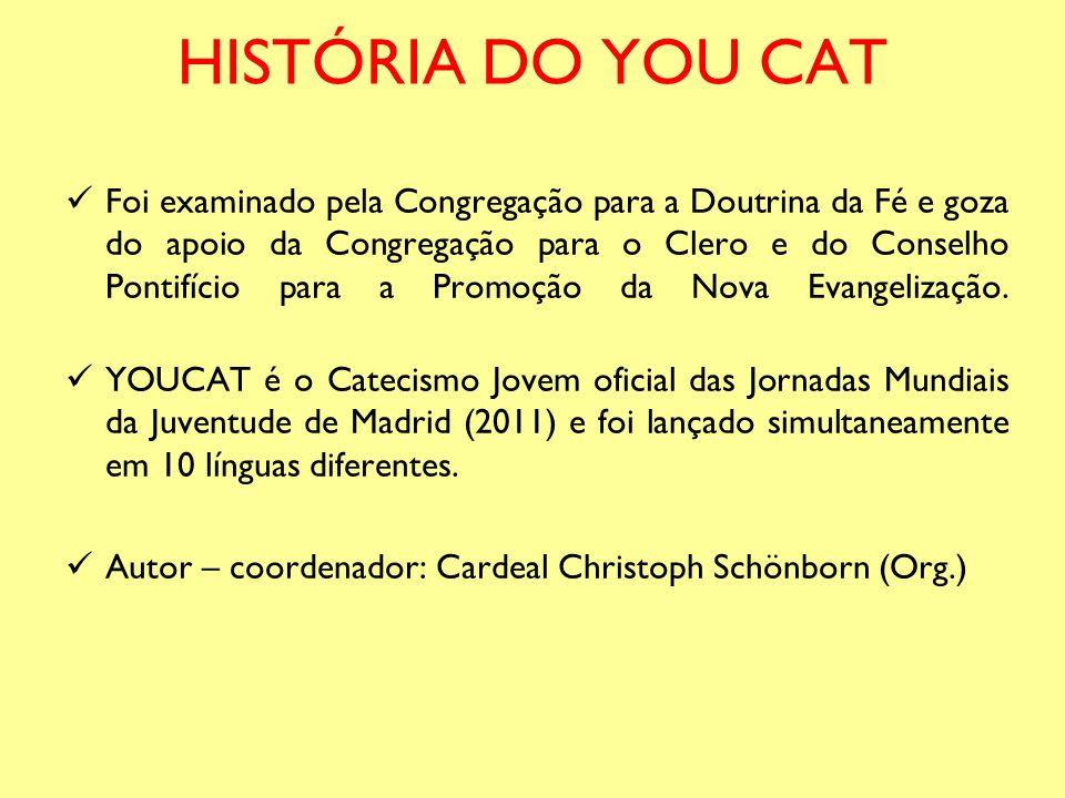 HISTÓRIA DO YOU CAT Foi examinado pela Congregação para a Doutrina da Fé e goza do apoio da Congregação para o Clero e do Conselho Pontifício para a P