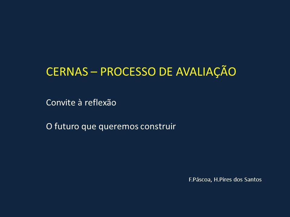 CERNAS – PROCESSO DE AVALIAÇÃO F.Páscoa, H.Pires dos Santos Convite à reflexão O futuro que queremos construir