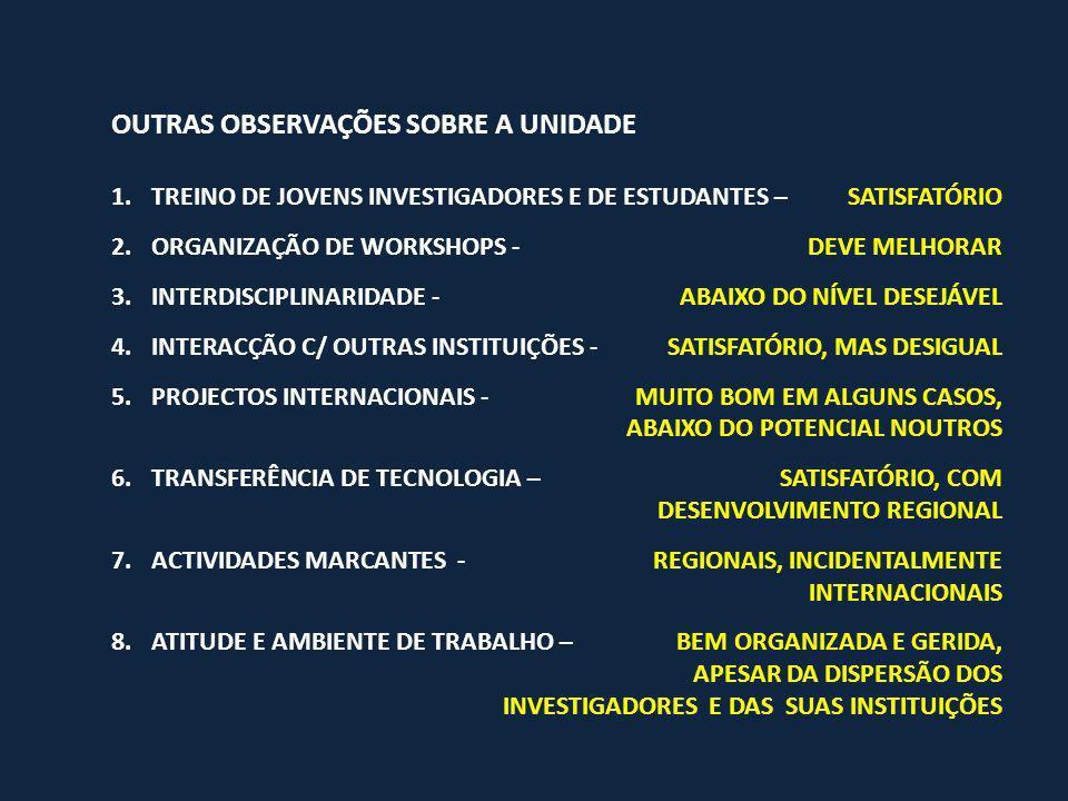 OUTRAS OBSERVAÇÕES SOBRE A UNIDADE 1.TREINO DE JOVENS INVESTIGADORES E DE ESTUDANTES – SATISFATÓRIO 2.ORGANIZAÇÃO DE WORKSHOPS - DEVE MELHORAR 3.INTERDISCIPLINARIDADE -ABAIXO DO NÍVEL DESEJÁVEL 4.INTERACÇÃO C/ OUTRAS INSTITUIÇÕES -SATISFATÓRIO, MAS DESIGUAL 5.PROJECTOS INTERNACIONAIS -MUITO BOM EM ALGUNS CASOS, ABAIXO DO POTENCIAL NOUTROS 6.TRANSFERÊNCIA DE TECNOLOGIA – SATISFATÓRIO, COM DESENVOLVIMENTO REGIONAL 7.ACTIVIDADES MARCANTES - REGIONAIS, INCIDENTALMENTE INTERNACIONAIS 8.ATITUDE E AMBIENTE DE TRABALHO – BEM ORGANIZADA E GERIDA, APESAR DA DISPERSÃO DOS INVESTIGADORES E DAS SUAS INSTITUIÇÕES