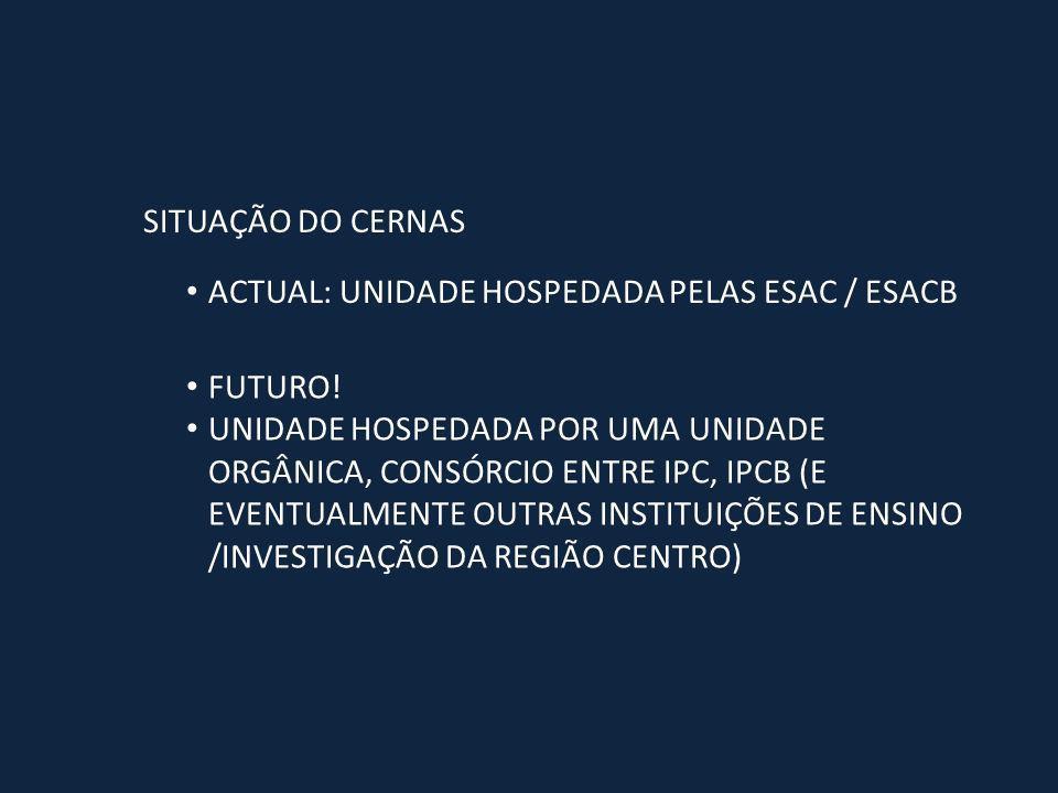 SITUAÇÃO DO CERNAS ACTUAL: UNIDADE HOSPEDADA PELAS ESAC / ESACB FUTURO.