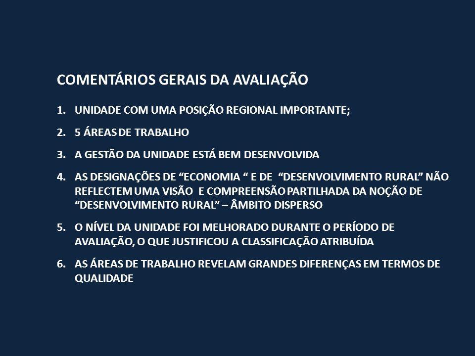 COMENTÁRIOS GERAIS DA AVALIAÇÃO 1.UNIDADE COM UMA POSIÇÃO REGIONAL IMPORTANTE; 2.5 ÁREAS DE TRABALHO 3.A GESTÃO DA UNIDADE ESTÁ BEM DESENVOLVIDA 4.AS DESIGNAÇÕES DE ECONOMIA E DE DESENVOLVIMENTO RURAL NÃO REFLECTEM UMA VISÃO E COMPREENSÃO PARTILHADA DA NOÇÃO DE DESENVOLVIMENTO RURAL – ÂMBITO DISPERSO 5.O NÍVEL DA UNIDADE FOI MELHORADO DURANTE O PERÍODO DE AVALIAÇÃO, O QUE JUSTIFICOU A CLASSIFICAÇÃO ATRIBUÍDA 6.AS ÁREAS DE TRABALHO REVELAM GRANDES DIFERENÇAS EM TERMOS DE QUALIDADE