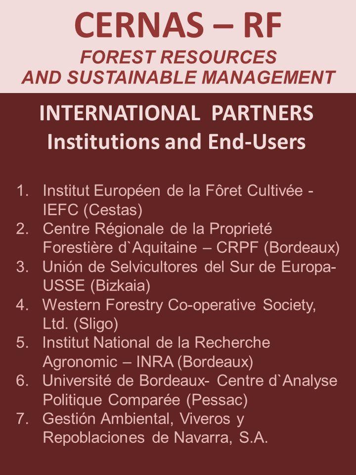 INTERNATIONAL PARTNERS Institutions and End-Users CERNAS – RF FOREST RESOURCES AND SUSTAINABLE MANAGEMENT 1.Institut Européen de la Fôret Cultivée - I