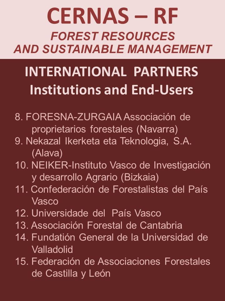 CERNAS – RF FOREST RESOURCES AND SUSTAINABLE MANAGEMENT 8.