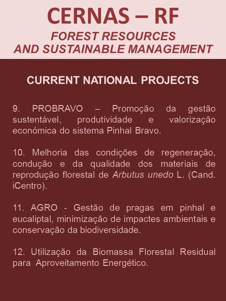 9. PROBRAVO – Promoção da gestão sustentável, produtividade e valorização económica do sistema Pinhal Bravo. 10. Melhoria das condições de regeneração