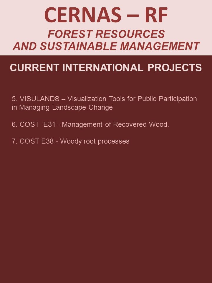 CERNAS – RF FOREST RESOURCES AND SUSTAINABLE MANAGEMENT CURRENT INTERNATIONAL PROJECTS 5.