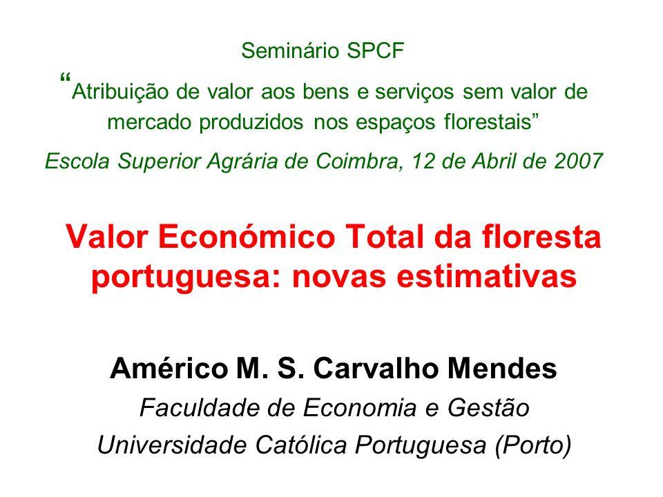 TRABALHO ANTERIOR Estimativas para 2001 Capítulo sobre Portugal do livro: –Valuing Mediterranean Forests: Towards Total Economic Value, M.