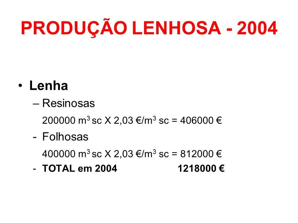 PRODUÇÃO LENHOSA - 2004 Lenha –Resinosas 200000 m 3 sc X 2,03 /m 3 sc = 406000 -Folhosas 400000 m 3 sc X 2,03 /m 3 sc = 812000 -TOTAL em 2004 1218000