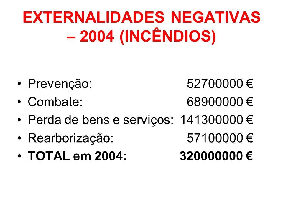 EXTERNALIDADES NEGATIVAS – 2004 (INCÊNDIOS) Prevenção: 52700000 Combate: 68900000 Perda de bens e serviços: 141300000 Rearborização: 57100000 TOTAL em