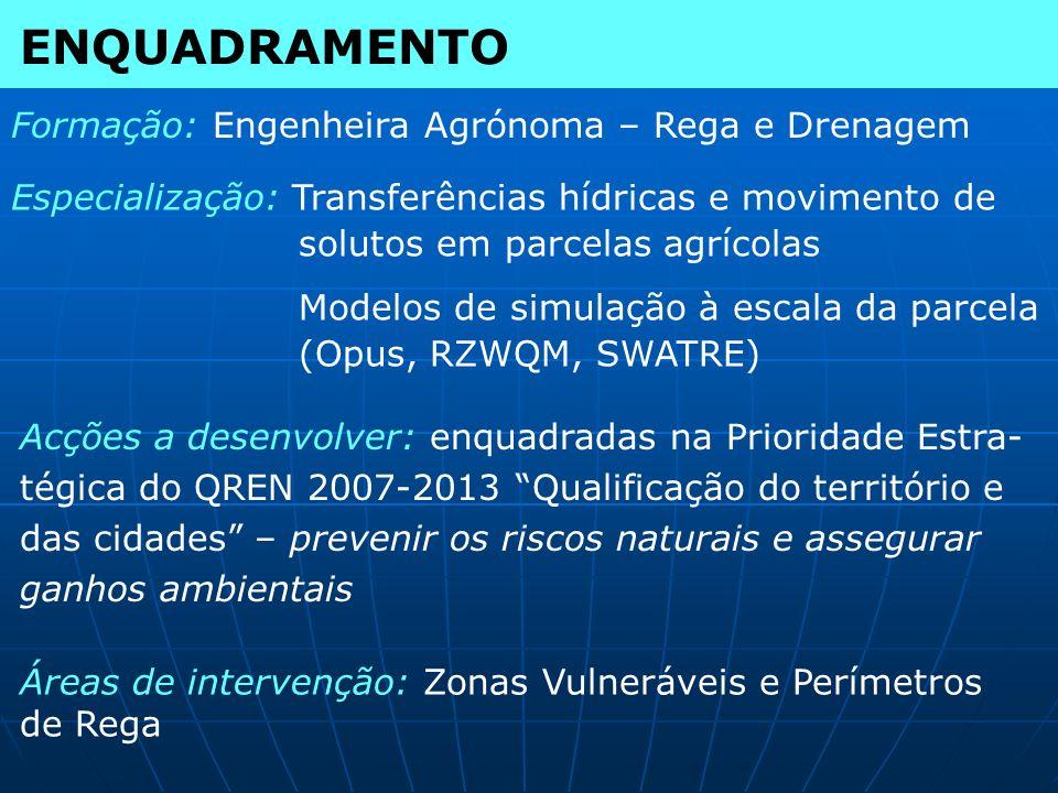 ENQUADRAMENTO Formação: Engenheira Agrónoma – Rega e Drenagem Especialização: Transferências hídricas e movimento de solutos em parcelas agrícolas Mod