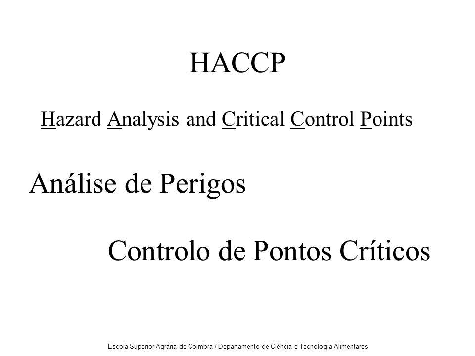Escola Superior Agrária de Coimbra / Departamento de Ciência e Tecnologia Alimentares HACCP Hazard Analysis and Critical Control Points Análise de Perigos Controlo de Pontos Críticos