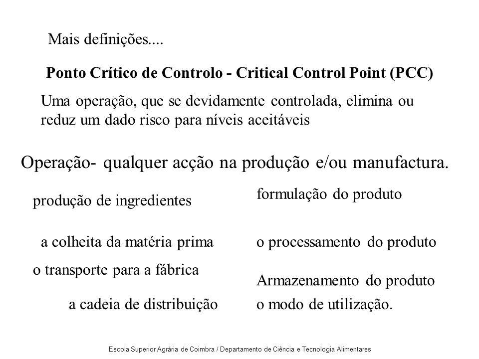 Escola Superior Agrária de Coimbra / Departamento de Ciência e Tecnologia Alimentares Ponto Crítico de Controlo - Critical Control Point (PCC) Operação- qualquer acção na produção e/ou manufactura.