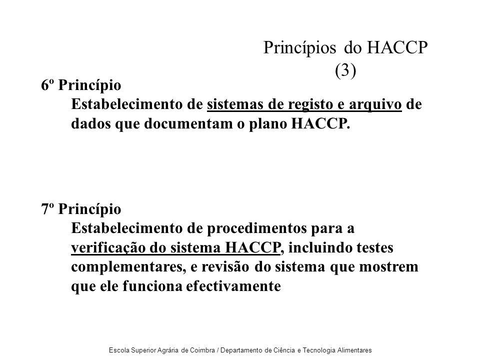 Escola Superior Agrária de Coimbra / Departamento de Ciência e Tecnologia Alimentares 6º Princípio Estabelecimento de sistemas de registo e arquivo de dados que documentam o plano HACCP.