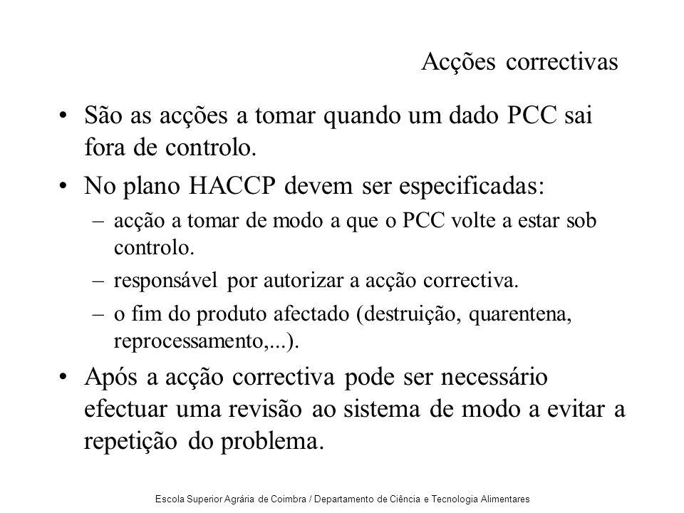 Escola Superior Agrária de Coimbra / Departamento de Ciência e Tecnologia Alimentares Acções correctivas São as acções a tomar quando um dado PCC sai fora de controlo.