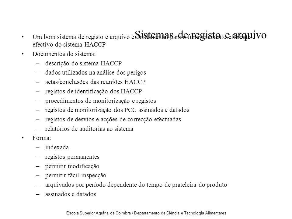 Escola Superior Agrária de Coimbra / Departamento de Ciência e Tecnologia Alimentares Sistemas de registo e arquivo Um bom sistema de registo e arquivo é fundamental para o funcionamento eficiente e efectivo do sistema HACCP Documentos do sistema: –descrição do sistema HACCP –dados utilizados na análise dos perigos –actas/conclusões das reuniões HACCP –registos de identificação dos HACCP –procedimentos de monitorização e registos –registos de monitorização dos PCC assinados e datados –registos de desvios e acções de correcção efectuadas –relatórios de auditorias ao sistema Forma: –indexada –registos permanentes –permitir modificação –permitir fácil inspecção –arquivados por período dependente do tempo de prateleira do produto –assinados e datados