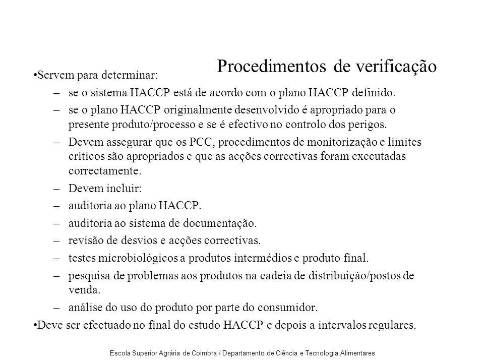 Escola Superior Agrária de Coimbra / Departamento de Ciência e Tecnologia Alimentares Procedimentos de verificação Servem para determinar: –se o sistema HACCP está de acordo com o plano HACCP definido.