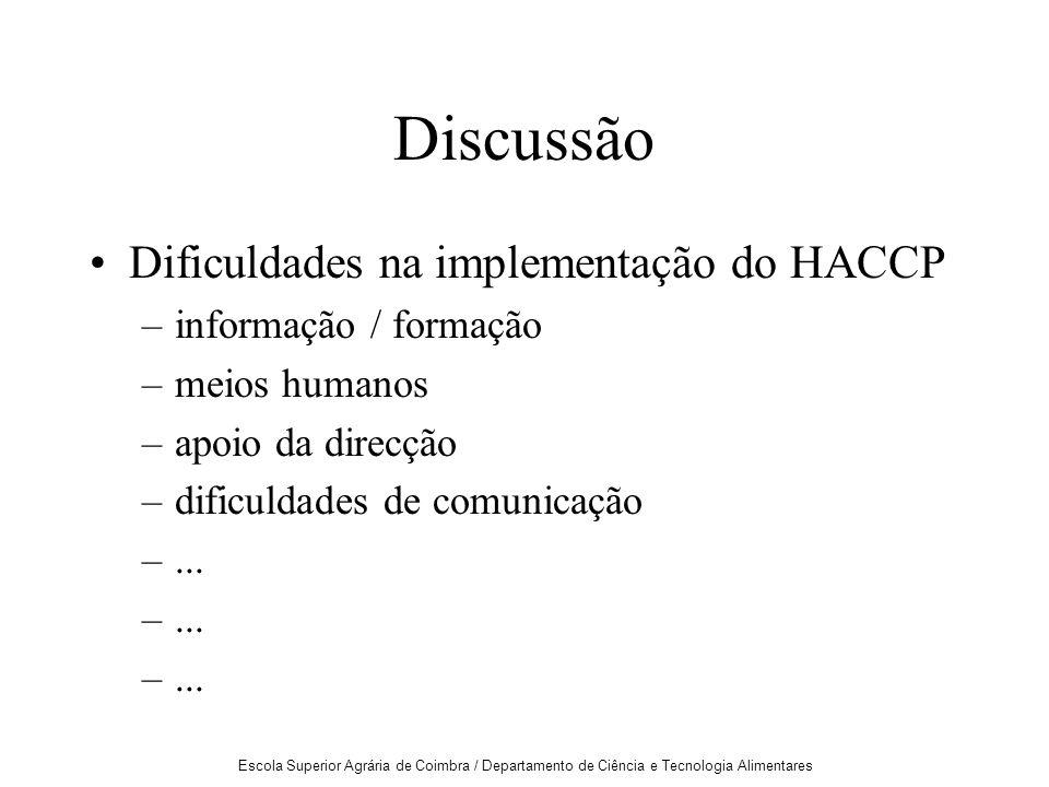 Escola Superior Agrária de Coimbra / Departamento de Ciência e Tecnologia Alimentares Discussão Dificuldades na implementação do HACCP –informação / formação –meios humanos –apoio da direcção –dificuldades de comunicação –...