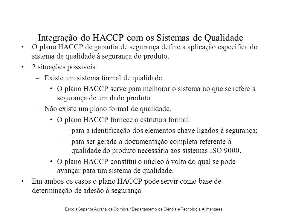 Escola Superior Agrária de Coimbra / Departamento de Ciência e Tecnologia Alimentares Integração do HACCP com os Sistemas de Qualidade O plano HACCP de garantia de segurança define a aplicação específica do sistema de qualidade à segurança do produto.