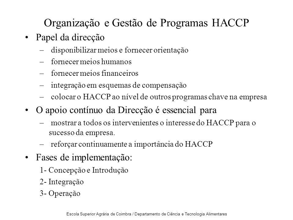 Escola Superior Agrária de Coimbra / Departamento de Ciência e Tecnologia Alimentares Organização e Gestão de Programas HACCP Papel da direcção – disponibilizar meios e fornecer orientação – fornecer meios humanos – fornecer meios financeiros – integração em esquemas de compensação – colocar o HACCP ao nível de outros programas chave na empresa O apoio contínuo da Direcção é essencial para – mostrar a todos os intervenientes o interesse do HACCP para o sucesso da empresa.