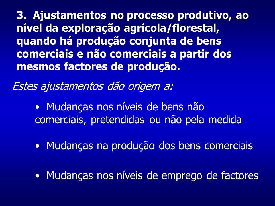 3. Ajustamentos no processo produtivo, ao nível da exploração agrícola/florestal, quando há produção conjunta de bens comerciais e não comerciais a pa