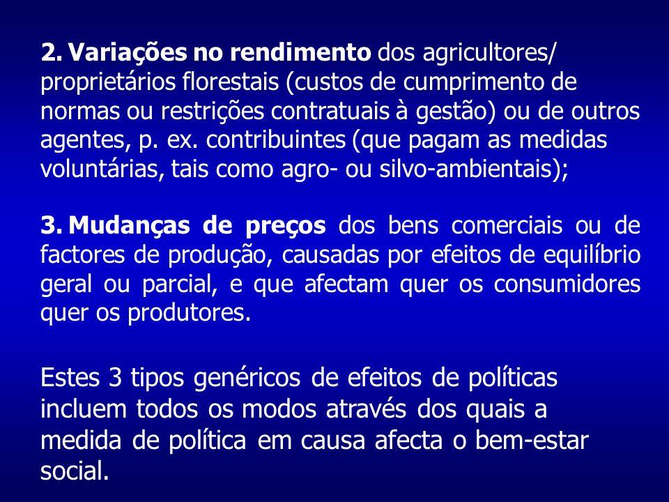2.Variações no rendimento dos agricultores/ proprietários florestais (custos de cumprimento de normas ou restrições contratuais à gestão) ou de outros agentes, p.