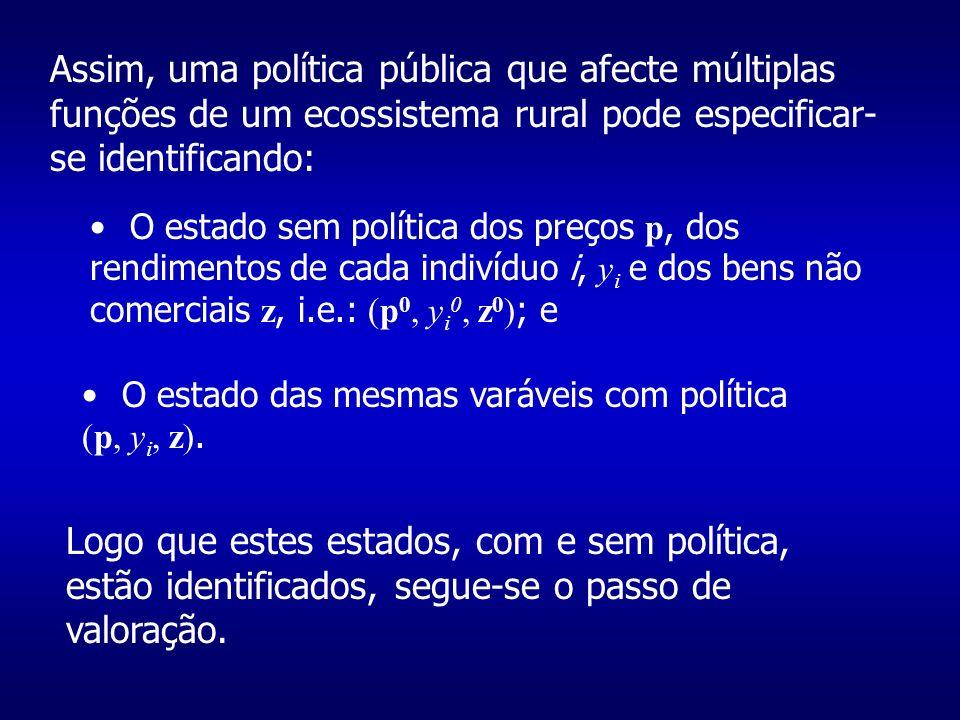 Assim, uma política pública que afecte múltiplas funções de um ecossistema rural pode especificar- se identificando: O estado sem política dos preços p, dos rendimentos de cada indivíduo i, y i e dos bens não comerciais z, i.e.: (p 0, y i 0, z 0 ) ; e O estado das mesmas varáveis com política (p, y i, z).
