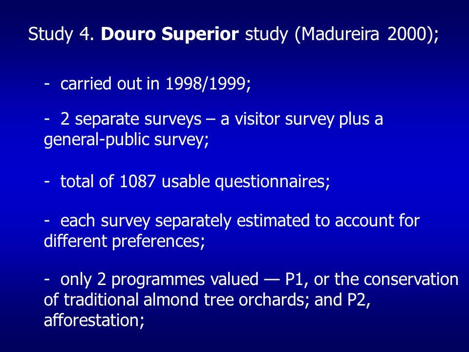 - carried out in 1998/1999; - 2 separate surveys – a visitor survey plus a general-public survey; - total of 1087 usable questionnaires; - each survey