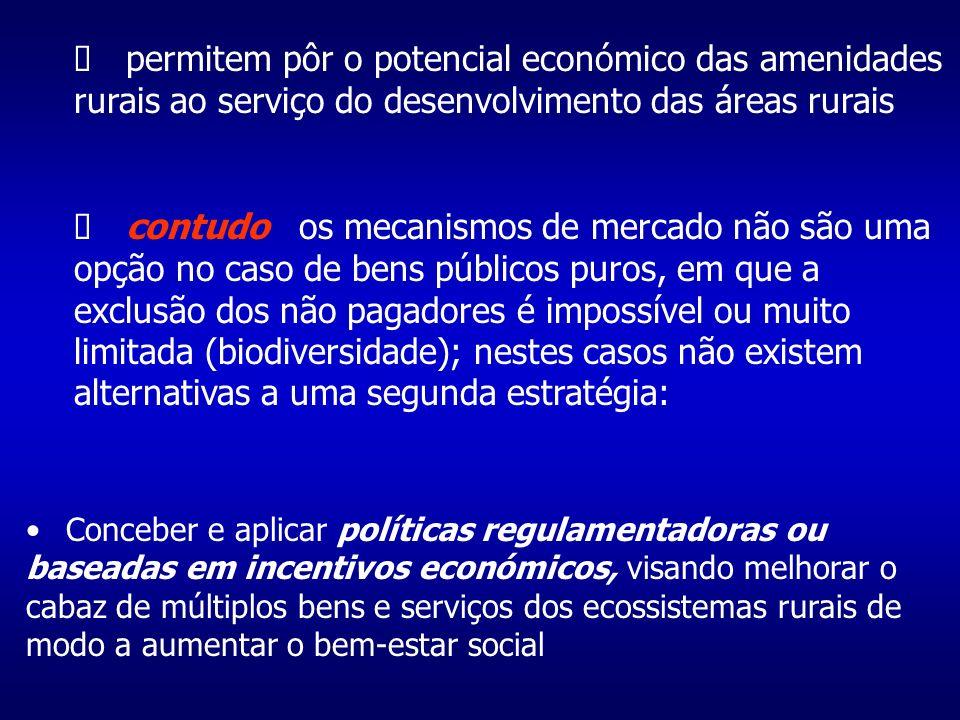 permitem pôr o potencial económico das amenidades rurais ao serviço do desenvolvimento das áreas rurais contudo os mecanismos de mercado não são uma opção no caso de bens públicos puros, em que a exclusão dos não pagadores é impossível ou muito limitada (biodiversidade); nestes casos não existem alternativas a uma segunda estratégia: Conceber e aplicar políticas regulamentadoras ou baseadas em incentivos económicos, visando melhorar o cabaz de múltiplos bens e serviços dos ecossistemas rurais de modo a aumentar o bem-estar social