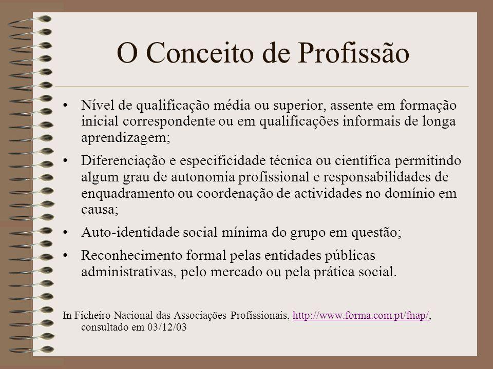 O Conceito de Profissão Nível de qualificação média ou superior, assente em formação inicial correspondente ou em qualificações informais de longa apr