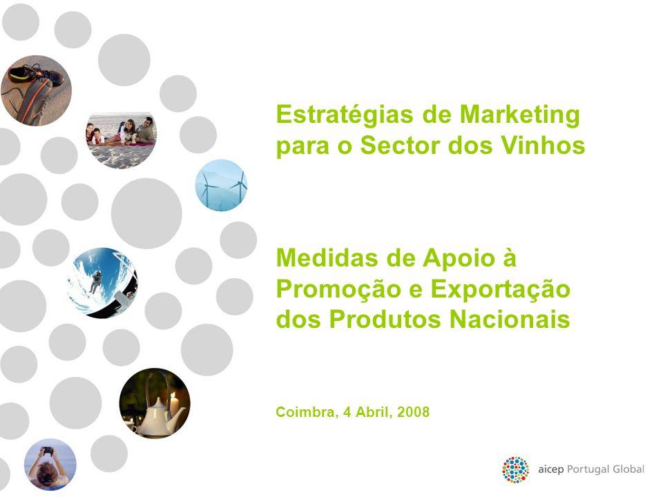 Estratégias de Marketing para o Sector dos Vinhos Medidas de Apoio à Promoção e Exportação dos Produtos Nacionais Coimbra, 4 Abril, 2008