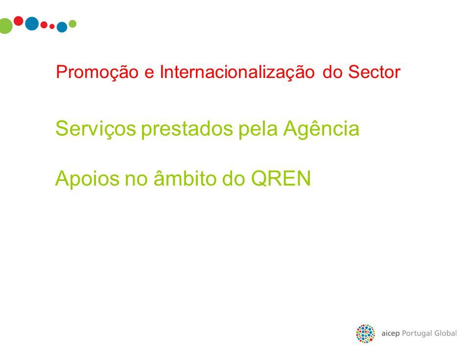 Serviços prestados pela Agência Apoios no âmbito do QREN Promoção e Internacionalização do Sector