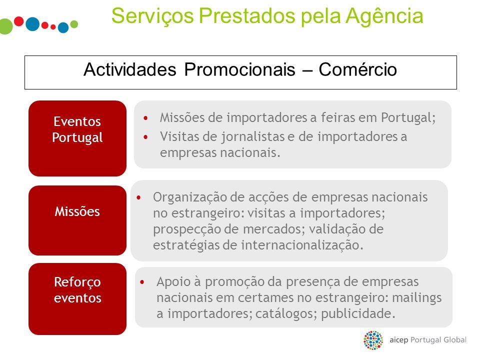 Actividades Promocionais – Comércio Missões de importadores a feiras em Portugal; Visitas de jornalistas e de importadores a empresas nacionais. Event