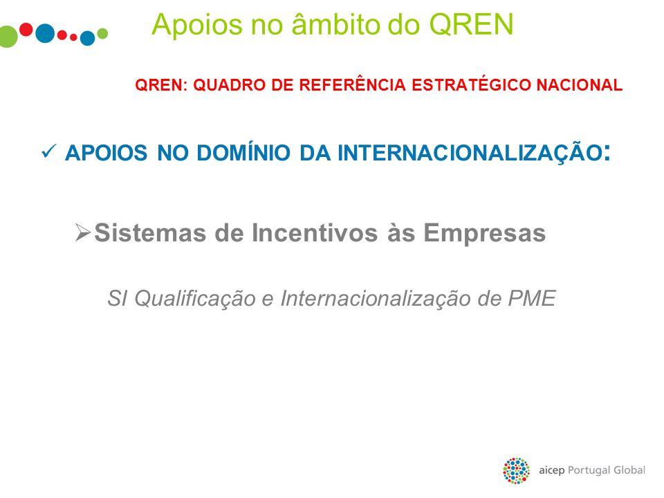 QREN: QUADRO DE REFERÊNCIA ESTRATÉGICO NACIONAL APOIOS NO DOMÍNIO DA INTERNACIONALIZAÇÃO : Sistemas de Incentivos às Empresas SI Qualificação e Intern
