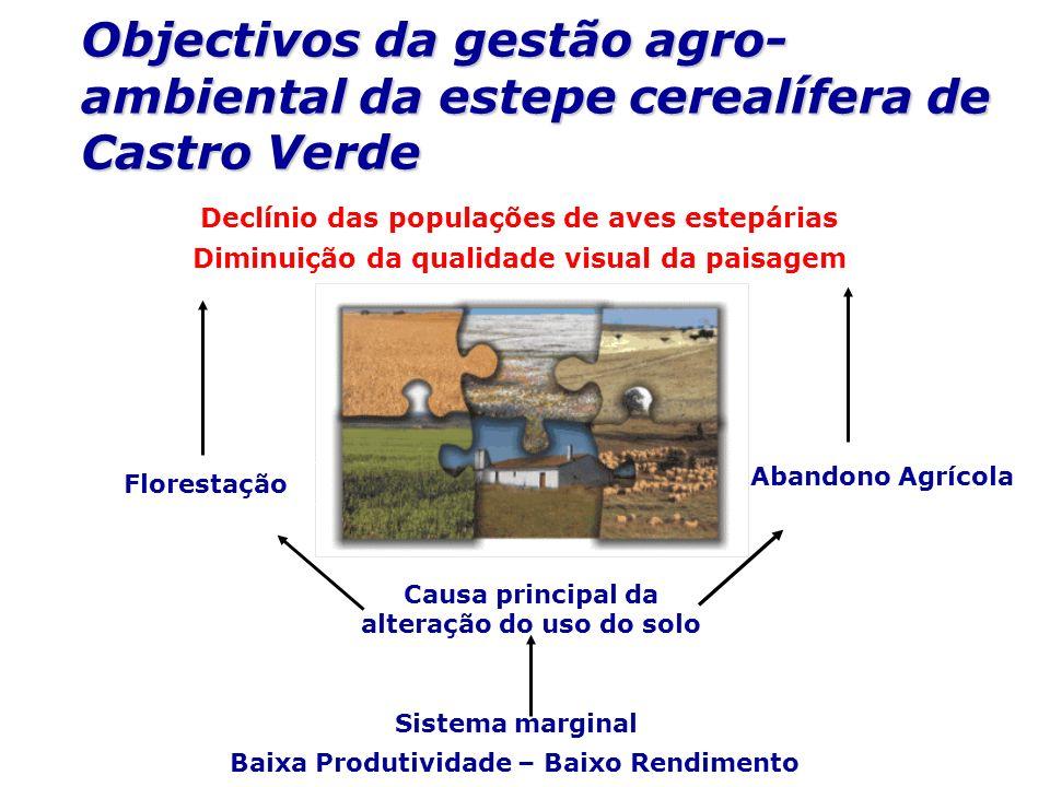 Abandono Agrícola Objectivos da gestão agro- ambiental da estepe cerealífera de Castro Verde Sistema marginal Causa principal da alteração do uso do s