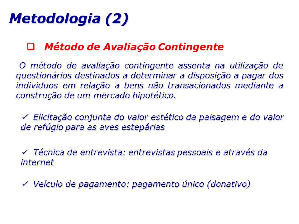 Método de Avaliação Contingente O método de avaliação contingente assenta na utilização de questionários destinados a determinar a disposição a pagar