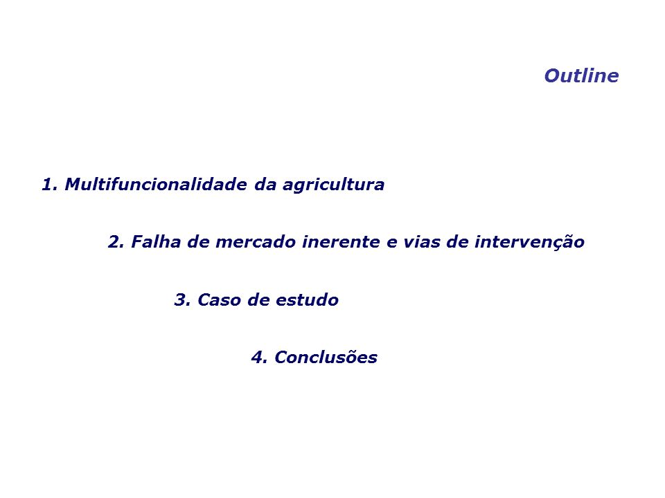 Multifunctional agriculture may be defined as an economic activity which, besides its primary function of producing agricultural commodities, affects social welfare by producing multiple positive or negative non-commodity outputs jointly with the commodity products.