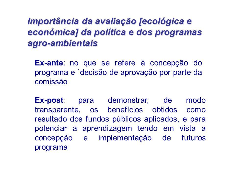 Importância da avaliação [ecológica e económica] da política e dos programas agro-ambientais Ex-ante: no que se refere à concepção do programa e `deci