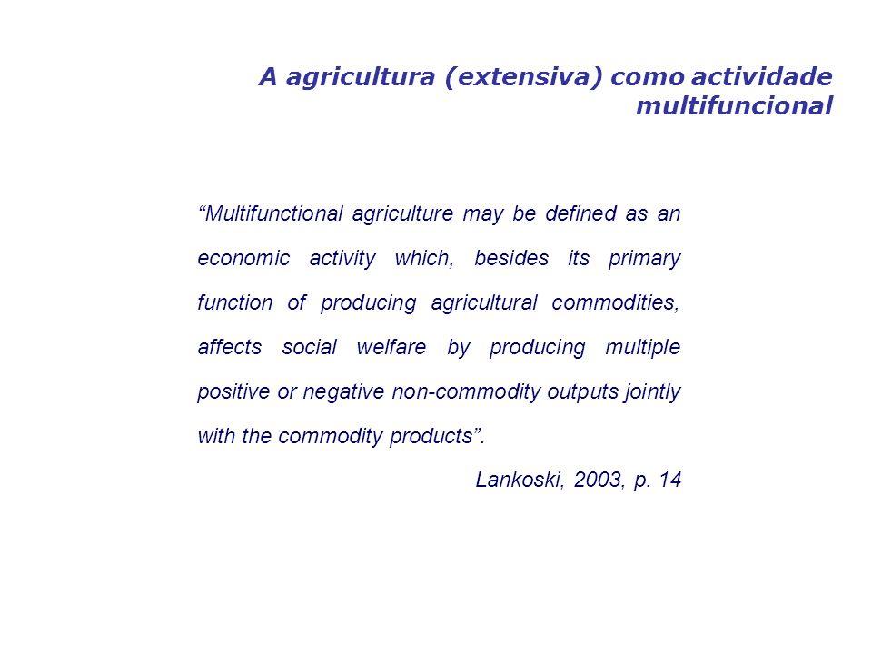 Sistematização dos outputs da agricultura multifuncional ExternalidadesBens PúblicosBens Privados O benefício (custo) privado não iguala os beneficios (custo) sociais.