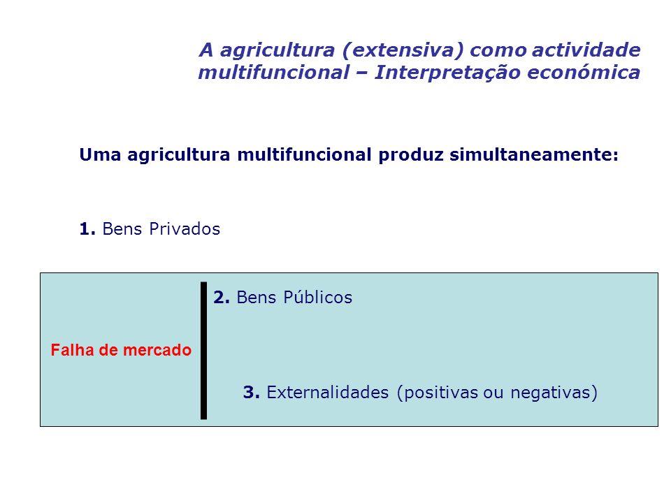 A agricultura (extensiva) como actividade multifuncional – Interpretação económica Uma agricultura multifuncional produz simultaneamente: 1. Bens Priv
