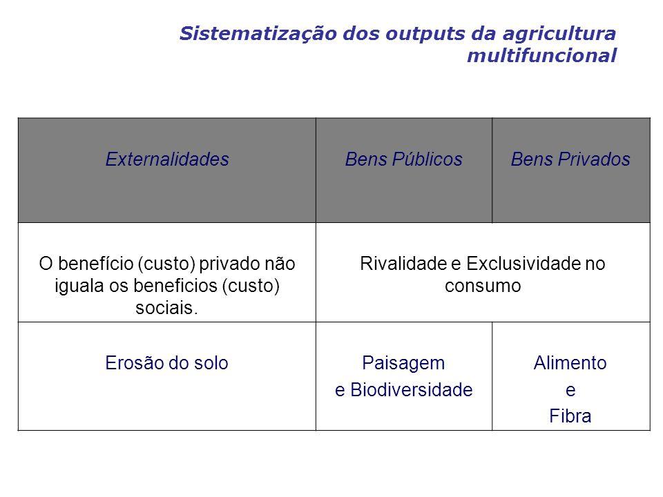 Sistematização dos outputs da agricultura multifuncional ExternalidadesBens PúblicosBens Privados O benefício (custo) privado não iguala os beneficios