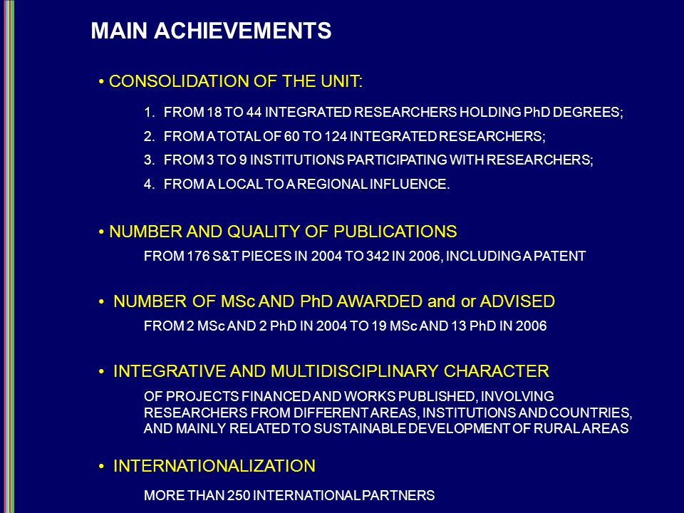 MAIN ACHIEVEMENTS CONSOLIDATION OF THE UNIT: 1.FROM 18 TO 44 INTEGRATED RESEARCHERS HOLDING PhD DEGREES; 2.FROM A TOTAL OF 60 TO 124 INTEGRATED RESEAR