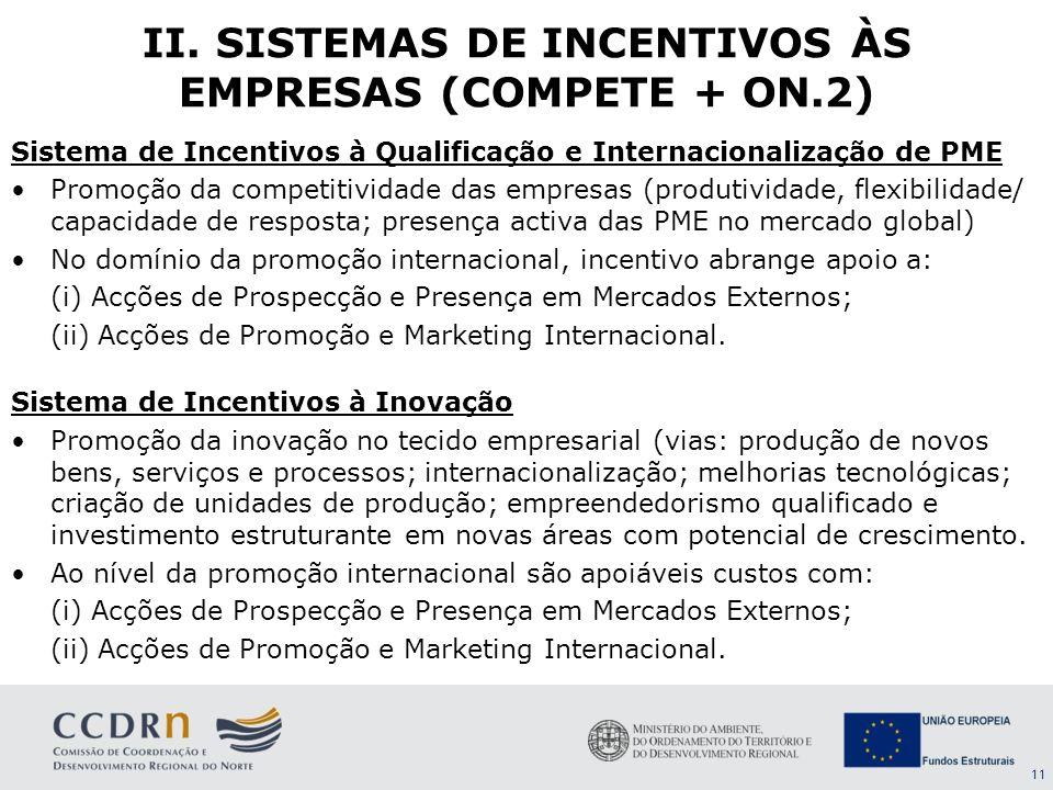 11 Sistema de Incentivos à Qualificação e Internacionalização de PME Promoção da competitividade das empresas (produtividade, flexibilidade/ capacidad