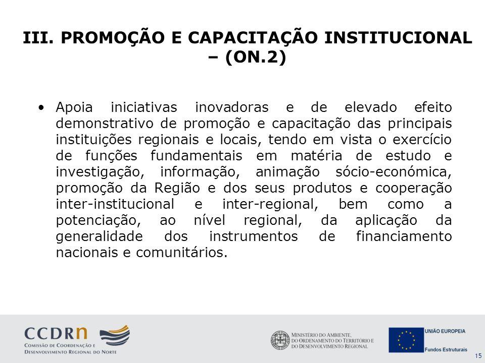 15 Apoia iniciativas inovadoras e de elevado efeito demonstrativo de promoção e capacitação das principais instituições regionais e locais, tendo em v