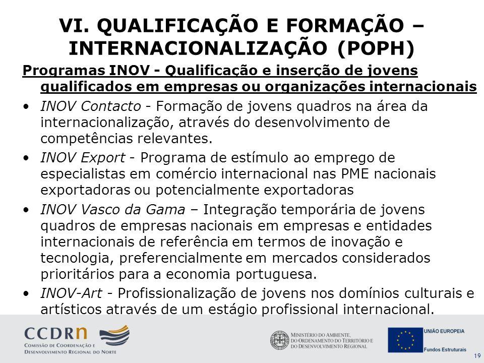19 Programas INOV - Qualificação e inserção de jovens qualificados em empresas ou organizações internacionais INOV Contacto - Formação de jovens quadr