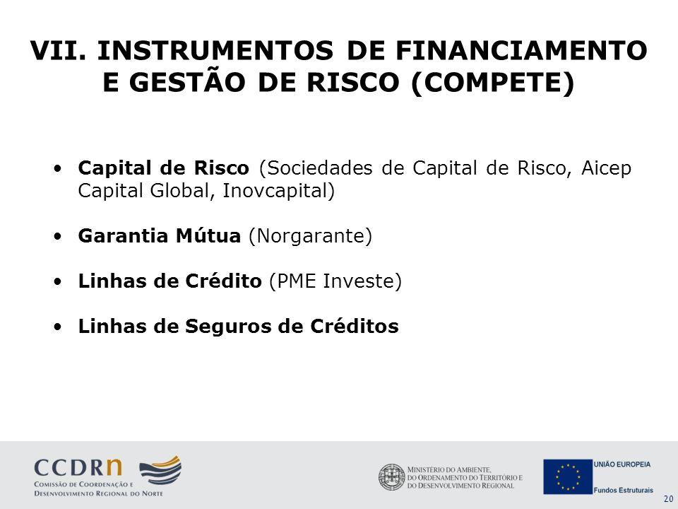 20 Capital de Risco (Sociedades de Capital de Risco, Aicep Capital Global, Inovcapital) Garantia Mútua (Norgarante) Linhas de Crédito (PME Investe) Li