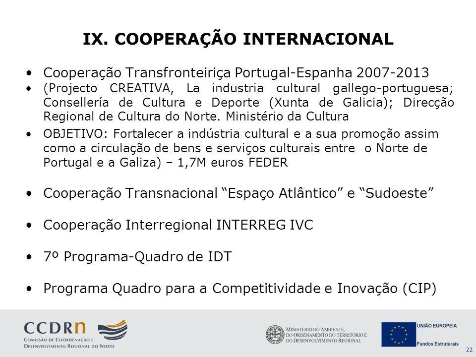 22 Cooperação Transfronteiriça Portugal-Espanha 2007-2013 (Projecto CREATIVA, La industria cultural gallego-portuguesa; Consellería de Cultura e Depor